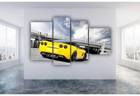 Желтый автомобиль у моста